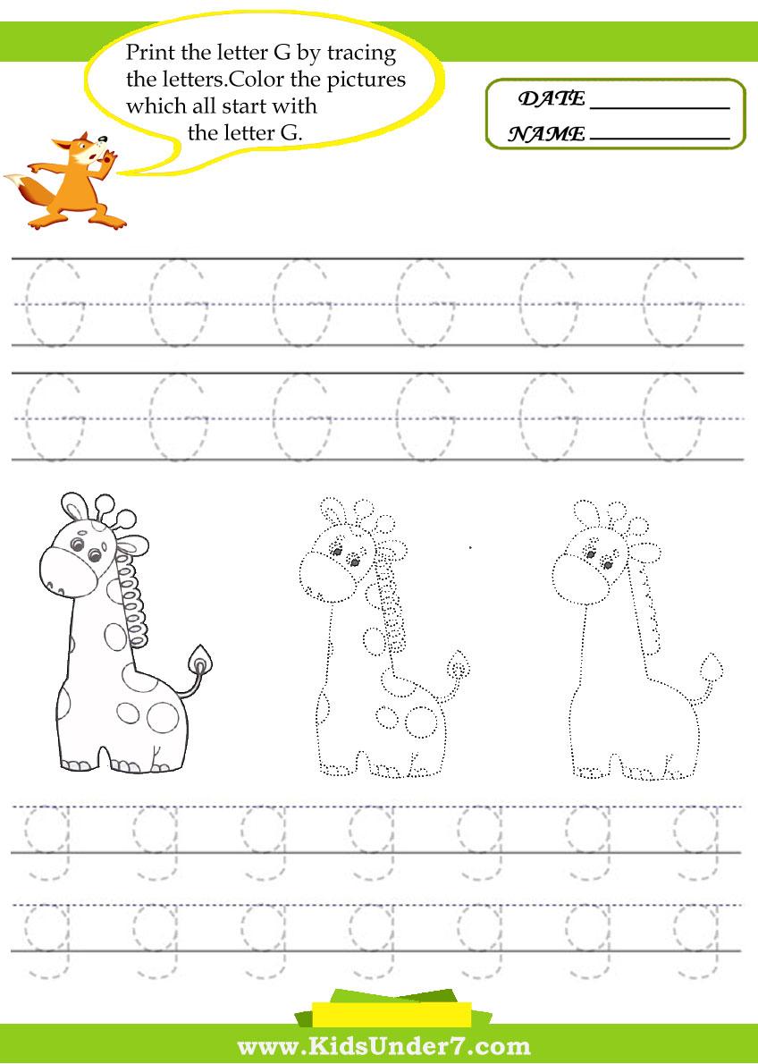 Workbooks letter g worksheets for preschool : Kids Under 7: Alphabet worksheets.Trace and Print Letter G