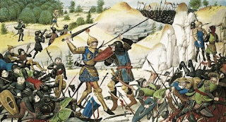Medieval fighter in combat with piles of bodies