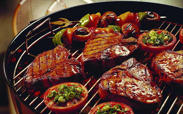 Barbecue achtergrond met vlees