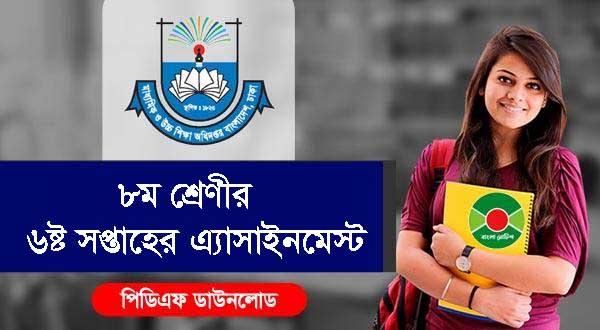 DSHE Class 8 School Assignment 2021 PDF 6th Week | www.dshe.gov.bd