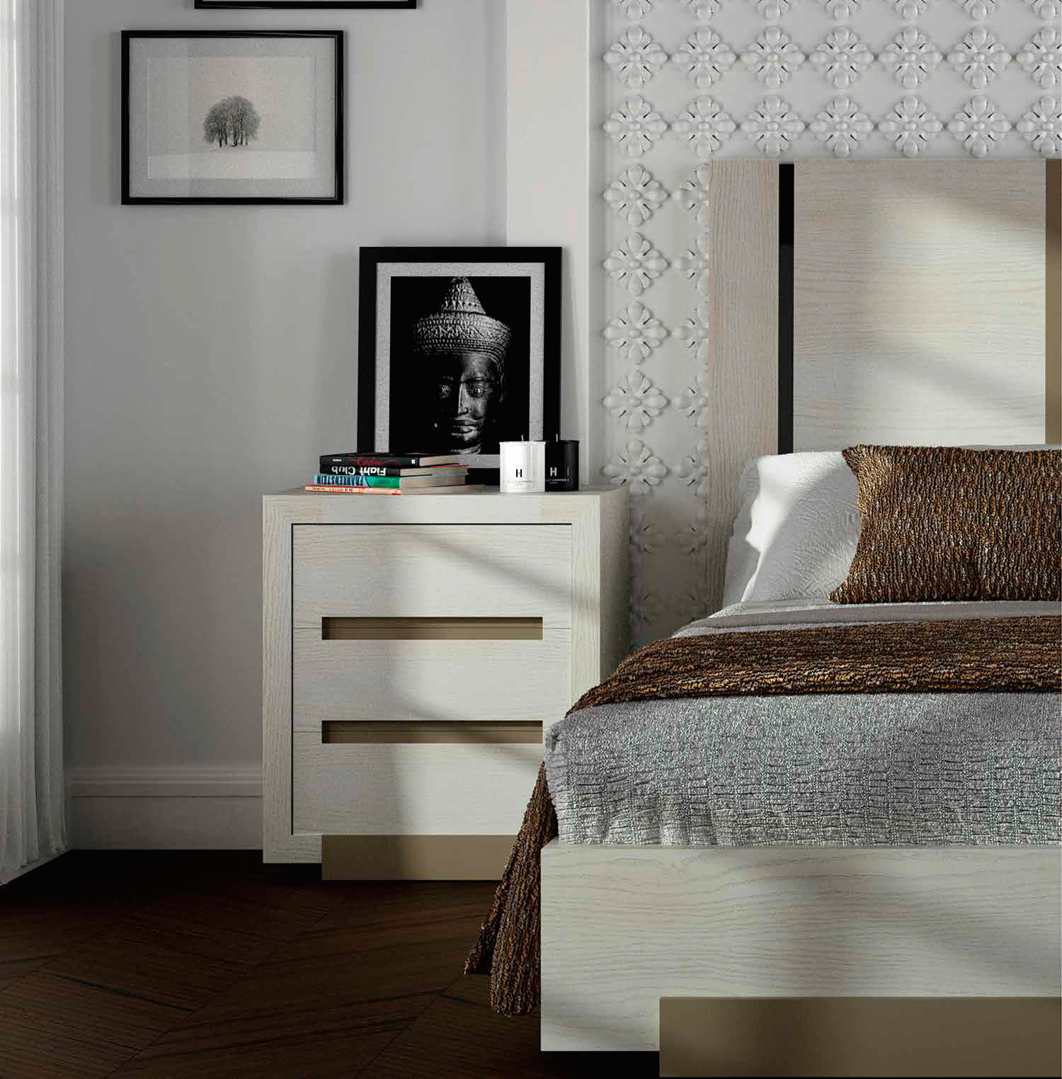 Muebles de dormitorio mesillas de noche un basico for Mesillas blancas