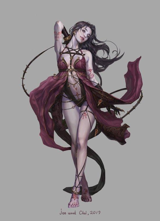 Jeewook Choi (c juk) artstation arte ilustrações mulheres fantasia