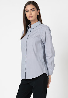 Stefanel - Дамска Риза с памук и райе