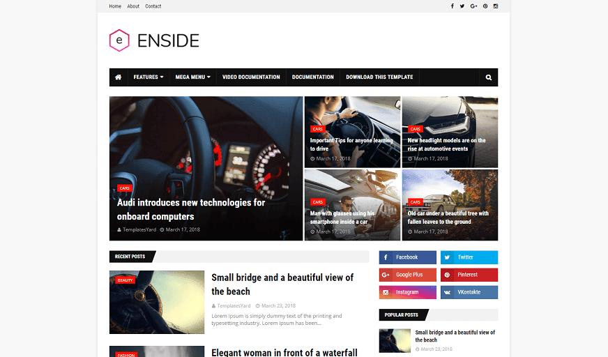 Enside - Responsive News & Magazine Blogger Template