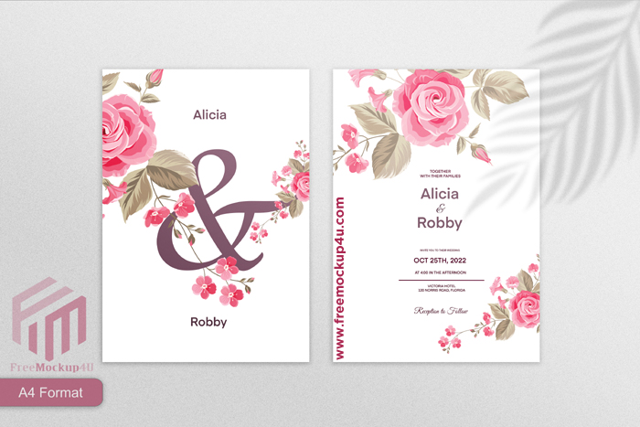 Minimalist Wedding Invitation Template With Red Rose Flower