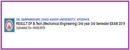 RMLAU B.Tech ME 2nd Year 3rd Sem Result 2019