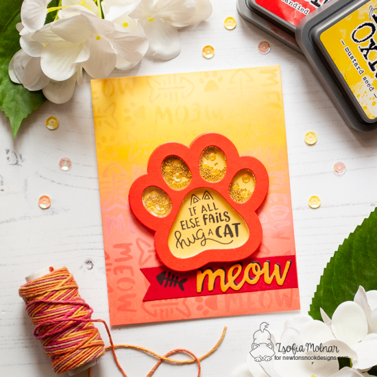 Pawprint Shaker Card by Zsofia Molnar | Cat-itude Stamp Set, Pawprint Shaker Die & Meow Stencil by Newton's Nook Designs #newtonsnook #handmade