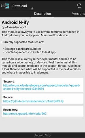 Pasang modul Android N-ify