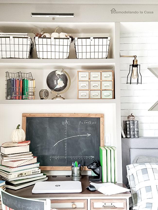Chalkboard, desk, vintage, boy room, black globe, wire baskets, pumpkins