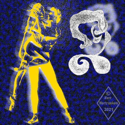 Bild auf blau meliertem Leinwanduntergrund. Links in gelb gehalten ein Tanzpaar als Silhouette, wobei der Tänzer, seine mit angezogenen Beinen, hochgehobene Partnerin, auf seinen Armen hält. Rechte Seite eine Bleistiftzeichnung (montiert) in weißer Schraffur, eines nur angedeuteten, weiblichen Profils (Brustbild), das seinerseits einen weßen, unscharfen Schatten wirft.