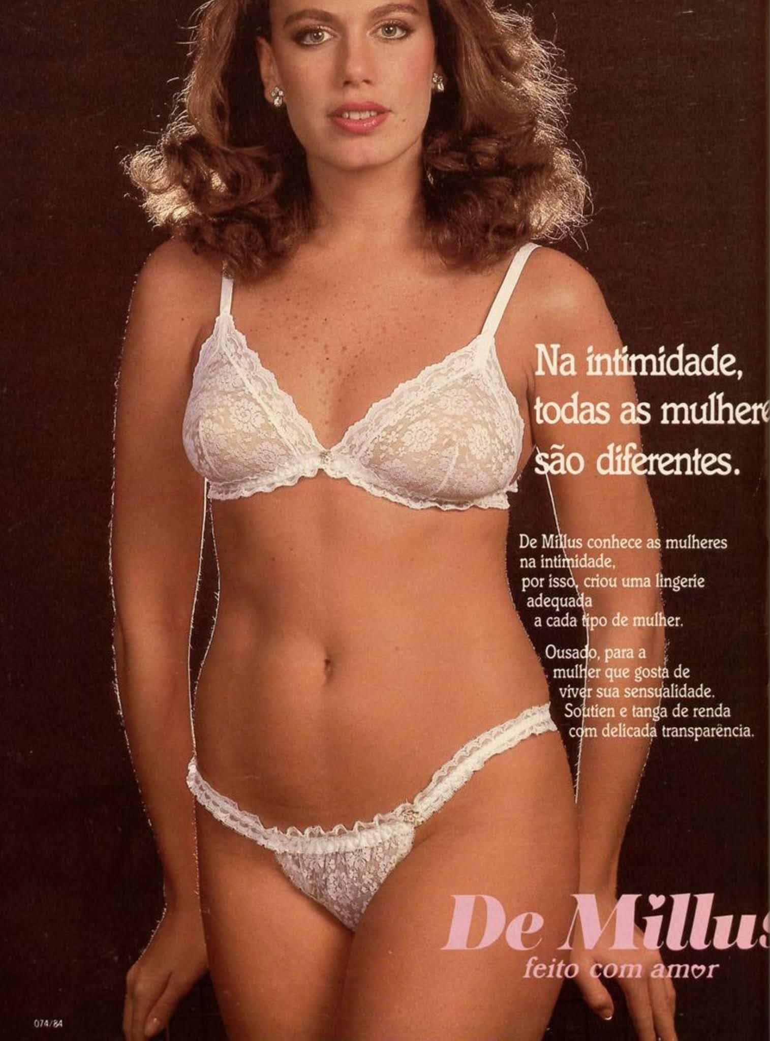 Propaganda antiga da De Millus promovendo sua linha de lingerie em 1984