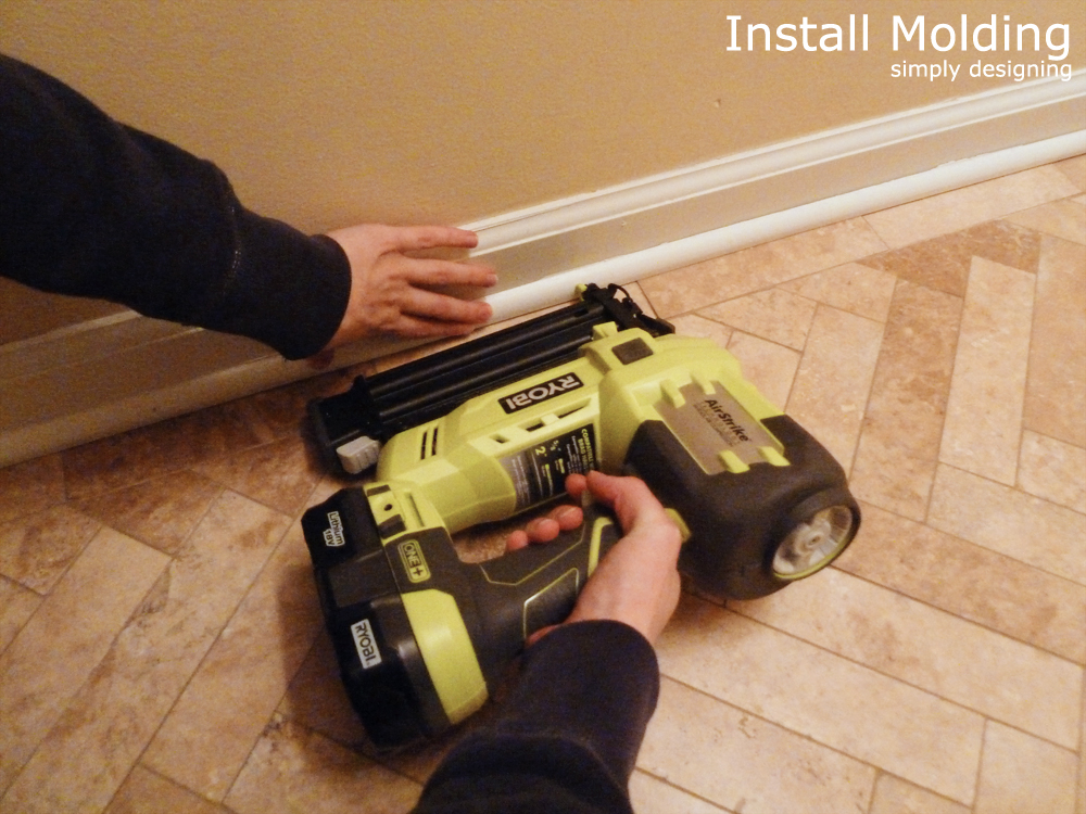 Install Molding | a complete tutorial for laying tile flooring and herringbone tile flooring | #diy #herringbone #tile #tilefloors #thetileshop @thetileshop