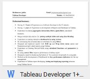 Download Tableau Developer Resume Sample Template