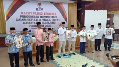 KPU Kabupaten Sijunjung  Tetapkan Nomor Urut Cabup-Cawabup Sijunjung , Ini Urutannya