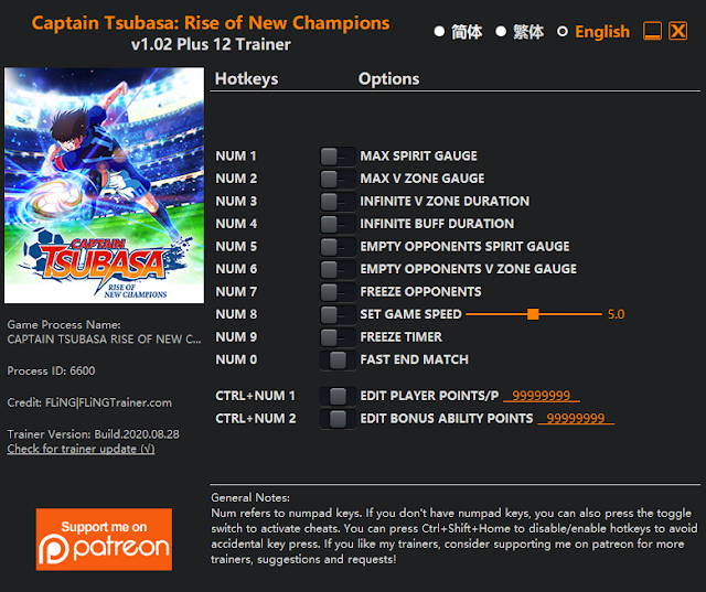 Tampilan Trainer Captain Tsubasa: Rise of New Champions PC