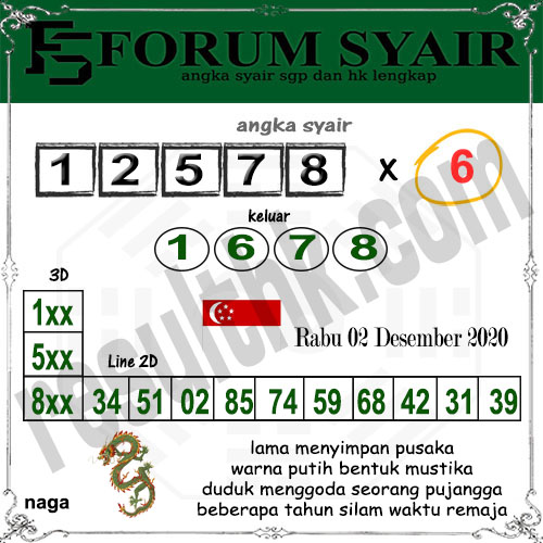 Forum Syair SGP Rabu 02 Desember 2020