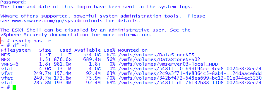 The Root UID: VMware NFS datastores inactive (unmounted) after reboot