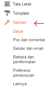 menu setting / setelan blogger