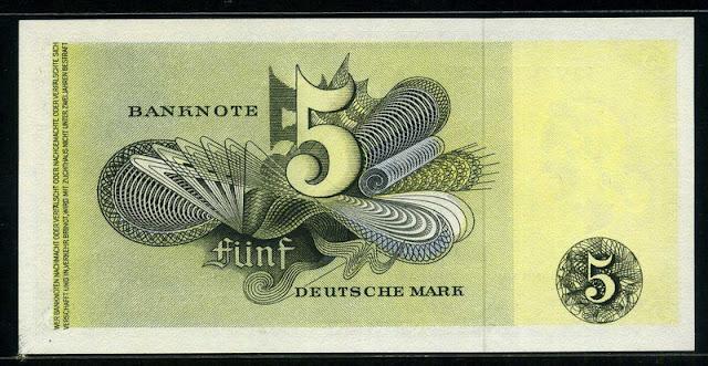 5 Deutsche Mark banknote money currency Bank Deutscher Länder