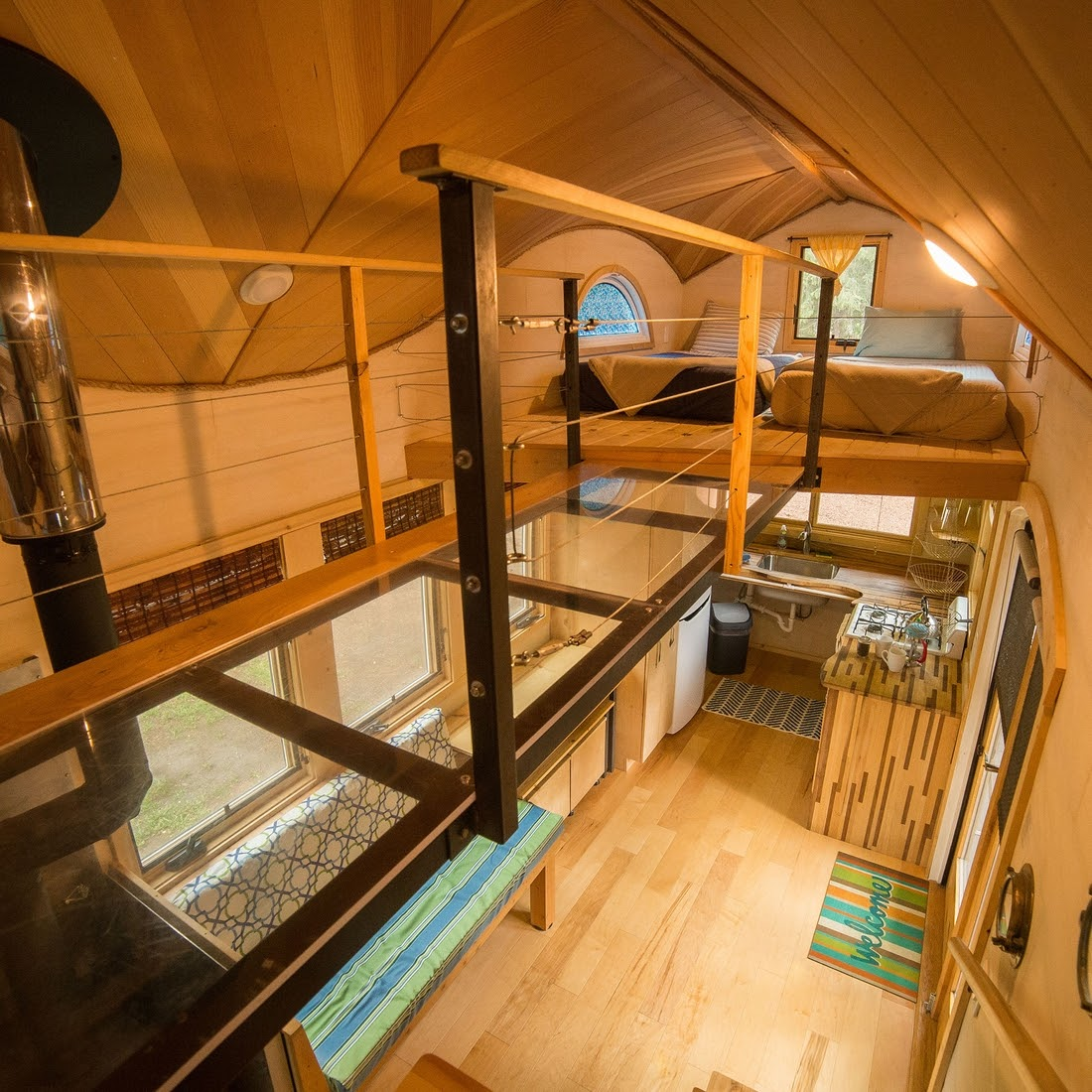 12-Guest-Bedroom-from-Elevated-Walkway-WeeCasa-The-Pequod-Tiny-House-Architecture-www-designstack-co