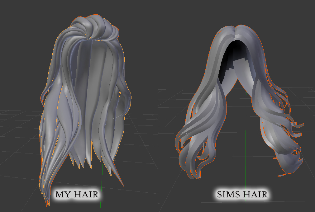 Mesh hair made by me vs regular sims hair | NoCruel Mesh Hair
