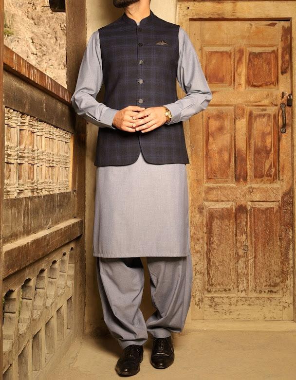 J. Junaid Jamshed winter men's mid night waistcoat