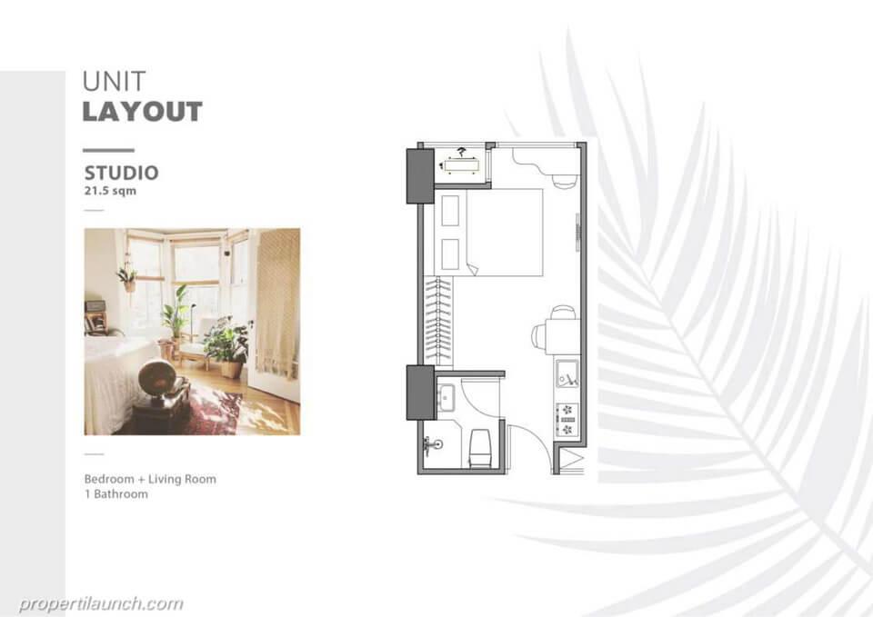 Unit Layout Apartemen The Burj Alam Sutera tipe Studio