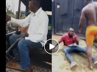 VIDEO: Nigerian man attacked, beat up Nepa officials who came to serve him bill