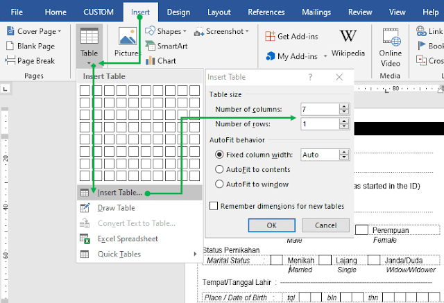 Insert Tabel Microsoft Word