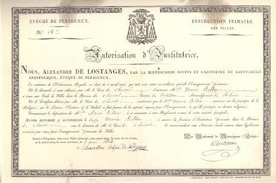 Autorisation d'institutrice (image empruntée à « L'Ecole Publique » Tome Premier-collection musée)