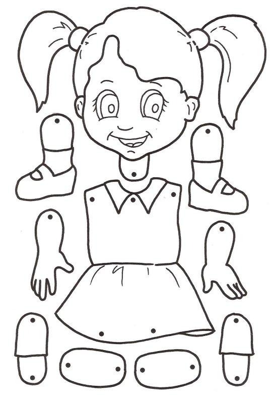 marioneta muñeca colorear