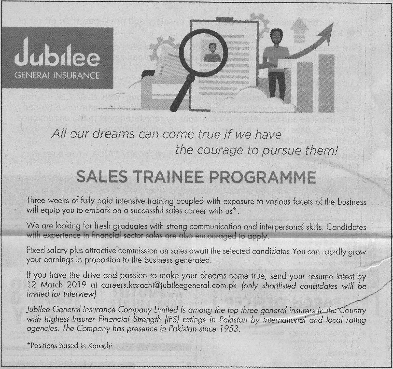 Jubilee General Insurance Jobs 2019 for Sales Trainee Programme Latest Jubilee Life Insurance jobs 2019