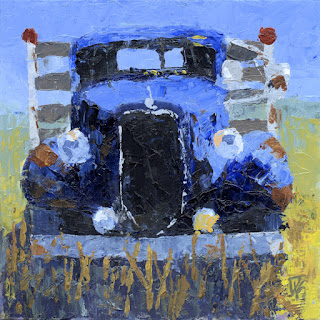 painting abstract art automotive truck flatbed ford antique