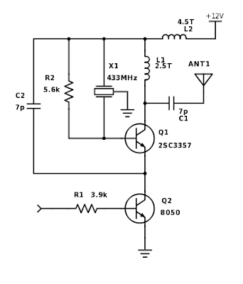 Módulos de 433MHz - Esquema do transmissor