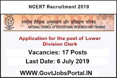 NCERT Clerk Recruitment 2019