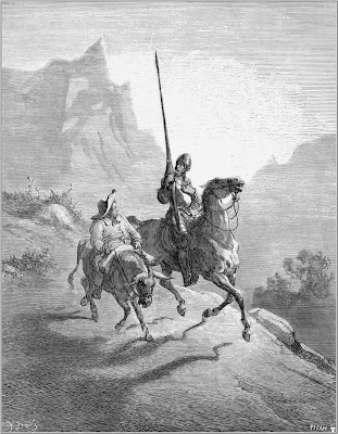 don quixote and sancho setting out, Gustave Dore, Desenho Dom Quixote, Sancho Pança, Miguel de Cervantes, Cervantes