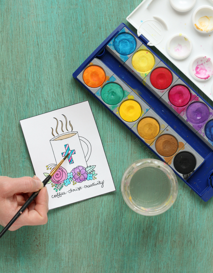 How to Prep Coloring Pages for Paint | Learn how to prepare coloring pages for watercolor or acrylic paint. pitterandglink.com