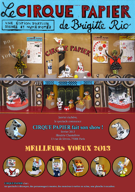 Cirque Papier de Brigitte Rio, vitrine à la librairie Chantelivre
