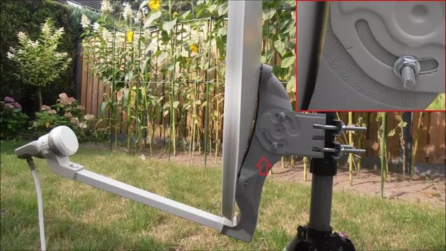 Cara mengatur sudut elevasi dish dengan Satellite Director