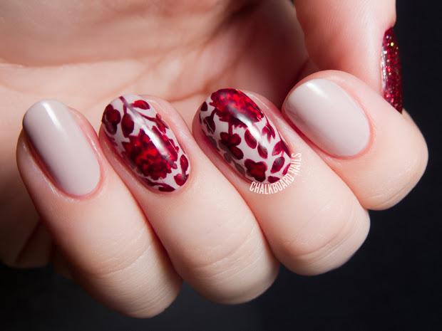 gorgeous red nail art design