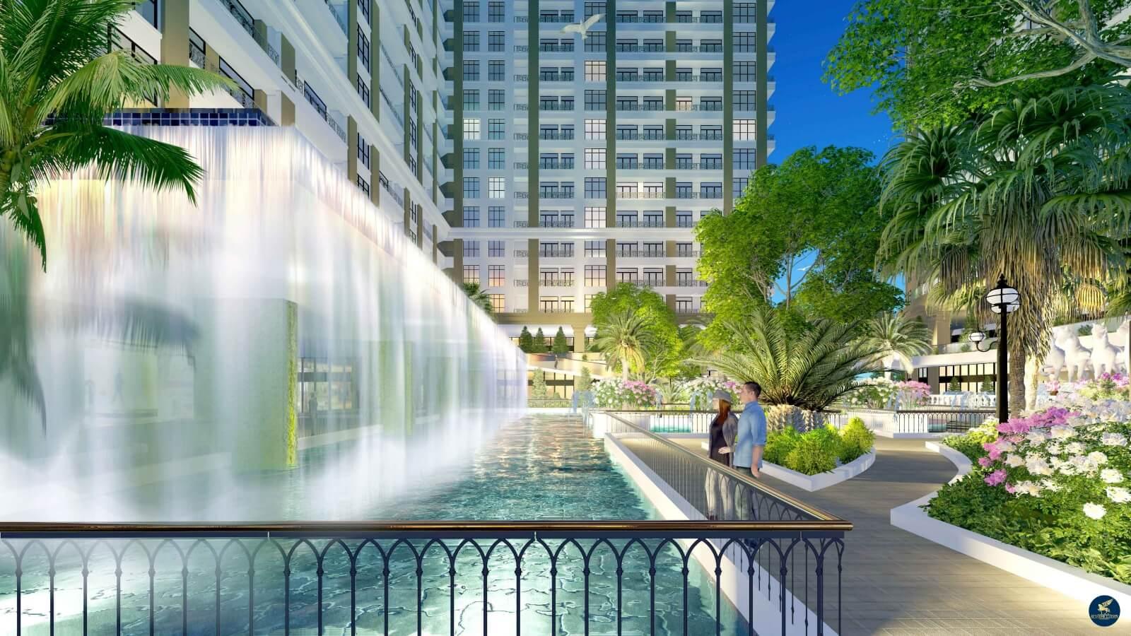 Bể bơi thác tràn nghệ thuật chung cư Sunshine Garden