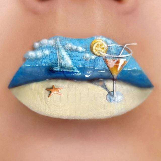 The work of Tutushka, depicting the seashore on the lips