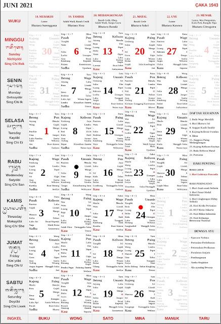 Kalender Bali Juni 2021 Lengkap PDF dan JPG