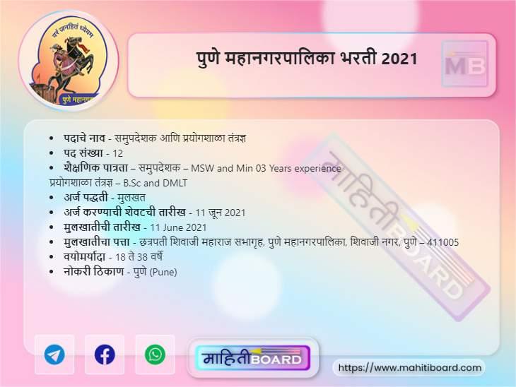 Pune Mahanagarpalika Bharti 2021