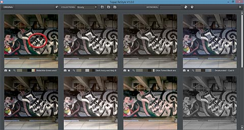 Double click thumbnail in grid view to go back to normal view in Topaz ReStyle