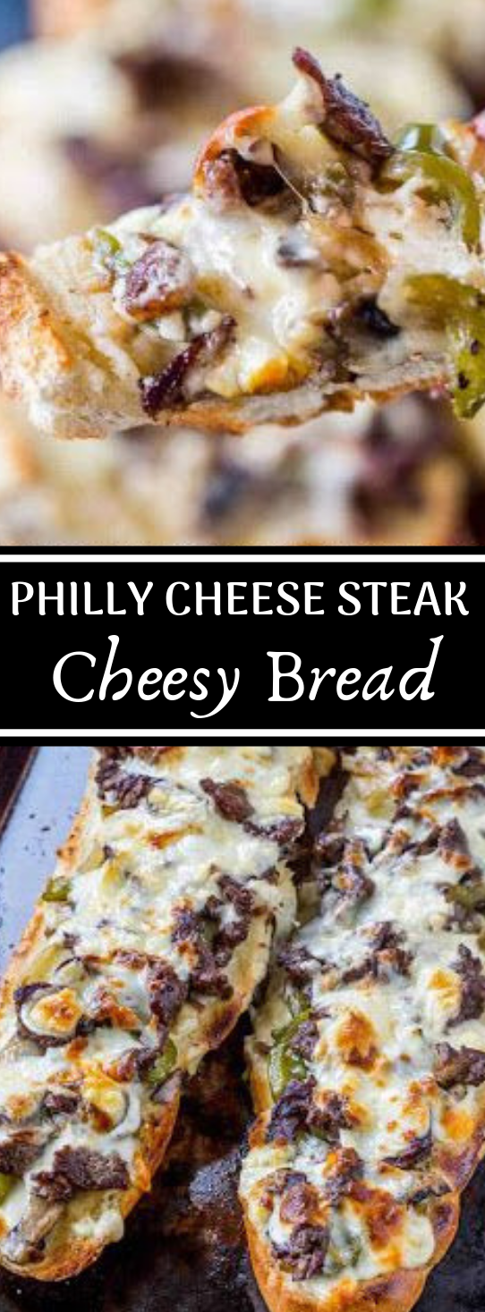 PHILLY CHEESE STEAK CHEESY BREAD #dinner #beef #cheese #salad ##recipes
