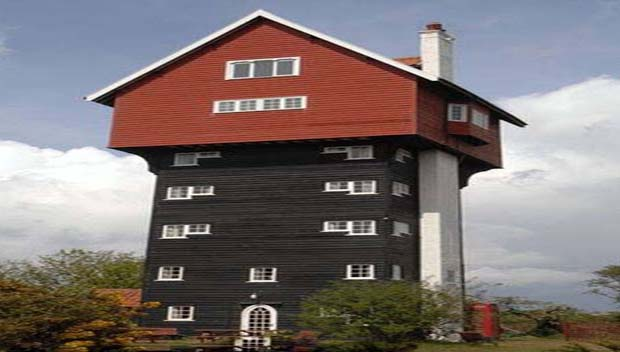A weird, The House in the Clouds is a 5-storey vacation home constructed on top of thirty gallons water so as to conceal it.