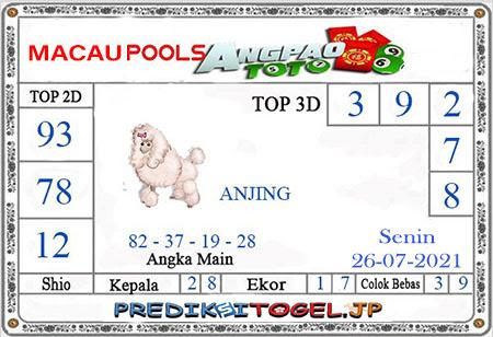 Prediksi Angpao Toto Macau Senin 26 Juli 2021
