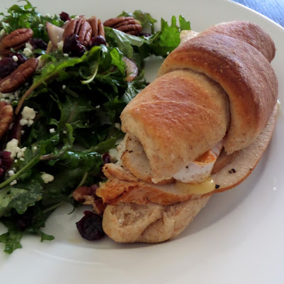 Turkey and Rougette Crescent Sandwich:  Juicy turkey breast and warm creamy buttery Rougette cheese on a tender Crescent Roll.