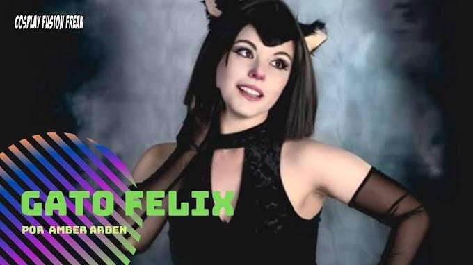 Amber Arden con su cosplay de El gato Felix